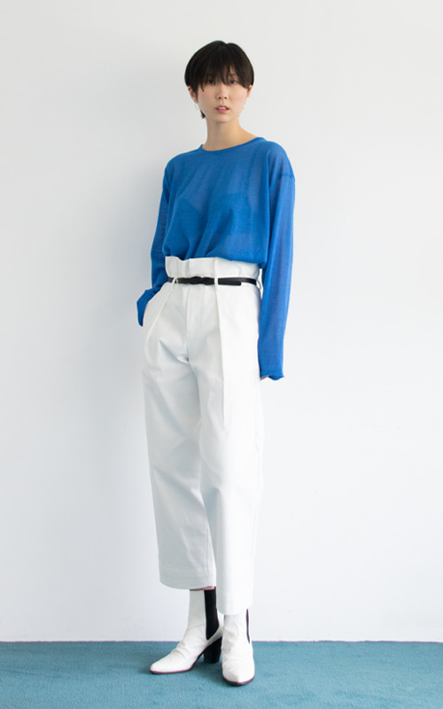 [당일 발송] Belt High Waist Pants_Ivory
