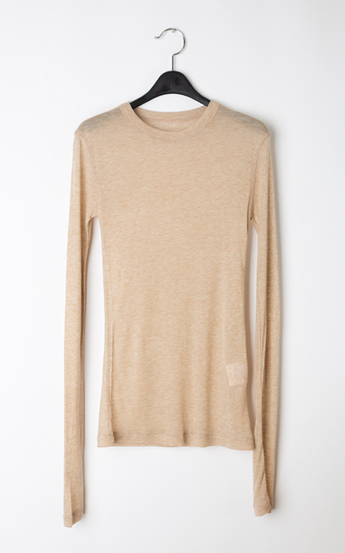 Wool See-through T-shirt_Beige