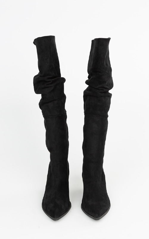 Suede Wrinkle Long Boots_Black