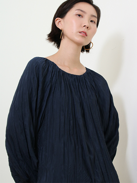 Light Cotton Wrinkle Dress_Navy