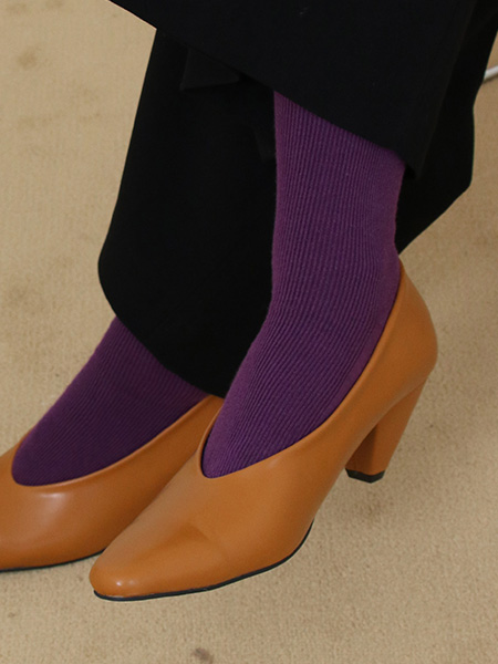 Rib Basic Socks_Purple,Brown,Beige