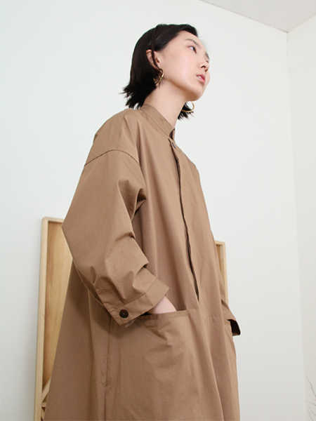 Oversize Shirt One-Piece_Brown