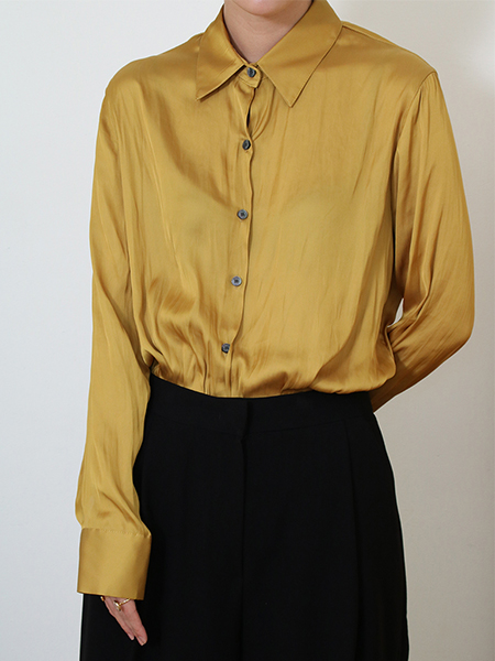 Salut Satin Shirt Blouse_Mustard