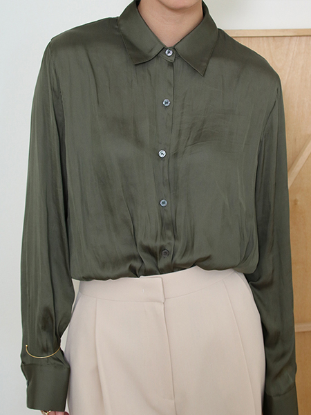 Salut Satin Shirt Blouse_Khaki