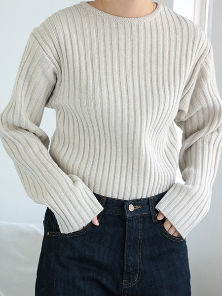 [SEASON OFF 10%] Thick Ribbed Knit Sweater_2 Colors