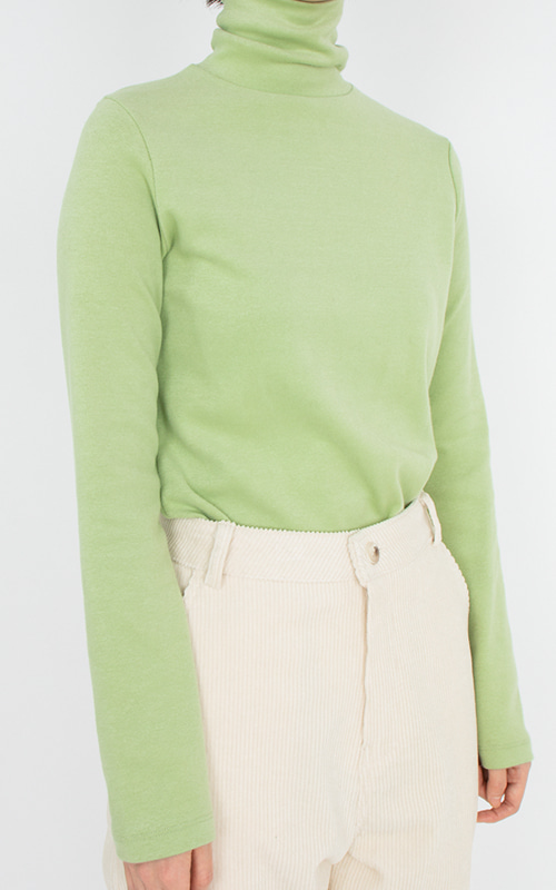 Turtle Neck Single T-shirts_Green tea