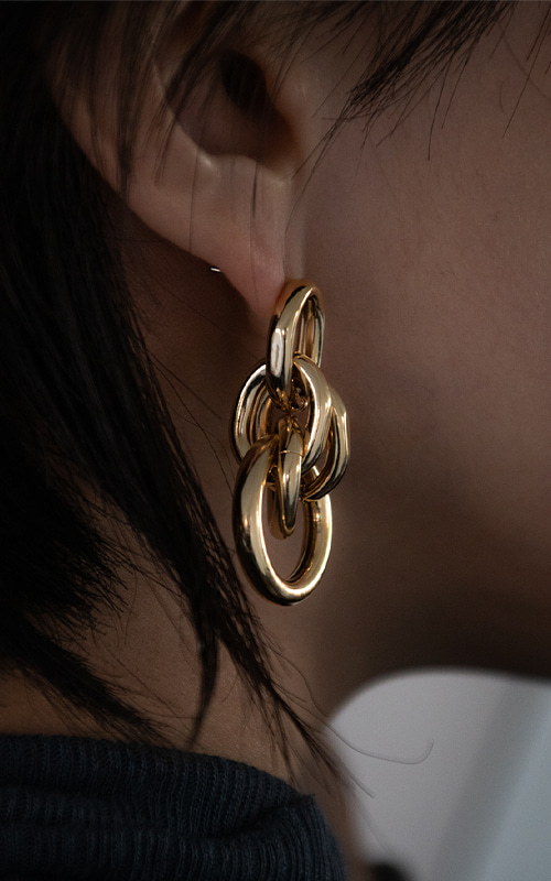 Layered Ring Earring_Gold