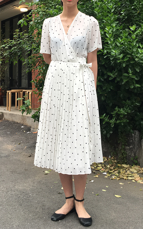 French Dot Wrap Dress_White