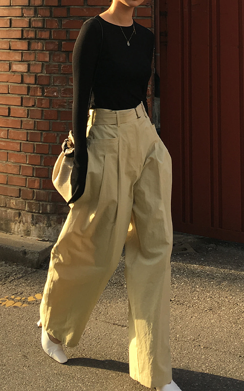 Belt Wide Pants_Olive