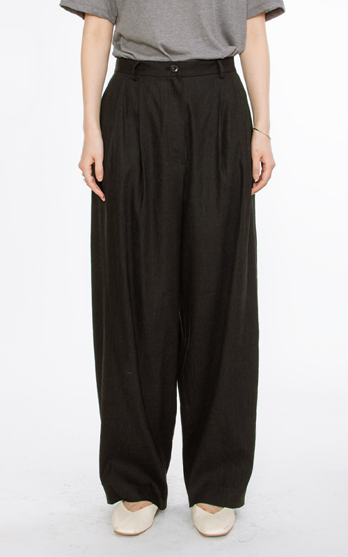 [SEASON OFF 20%] Linen Wide Pants_Black