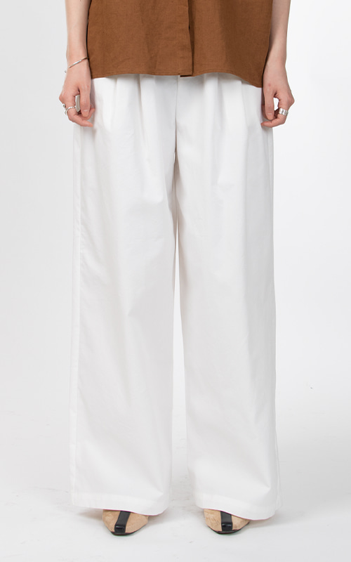 Cotton Wide Band Pants_Ivory