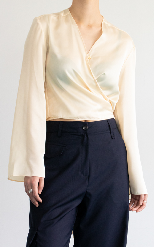 Silky Wrap Blouse_Yellow