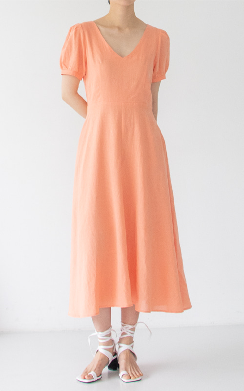 Linen Smocking Dress_Orange