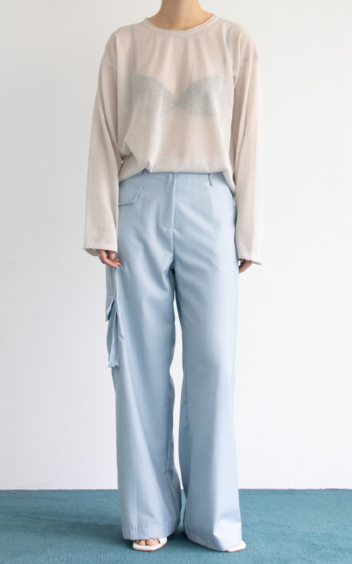 Straight Cargo Trousers_Sky Blue