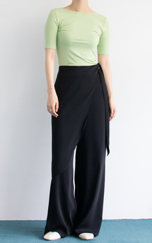 [M사이즈 당일 발송] Wide Wrap Pants_Black
