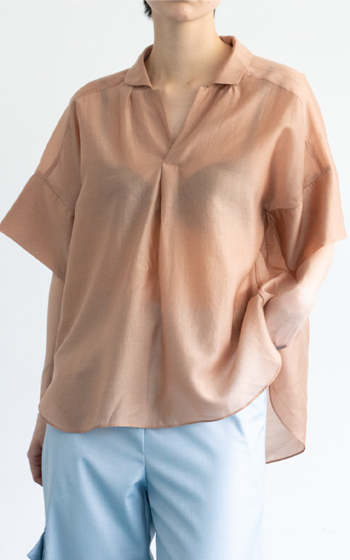 Open Collar Shirt Blouse_Peach
