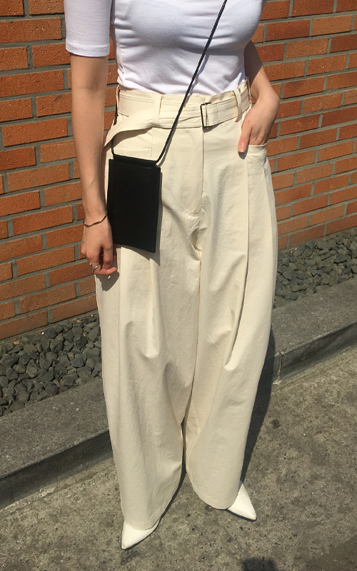 Belt Wide Pants_Cream