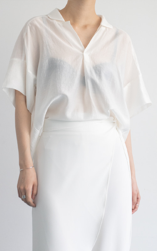 Open Collar Shirt Blouse_Ivory