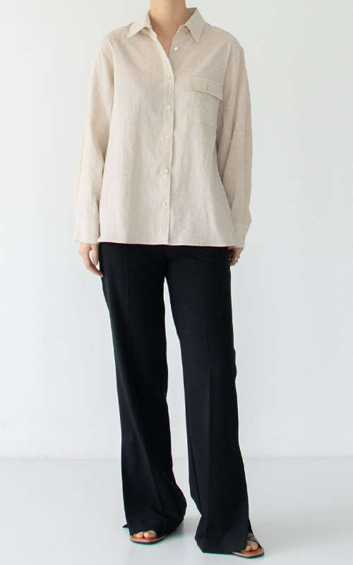 Linen Pocket Shirt_Oatmeal