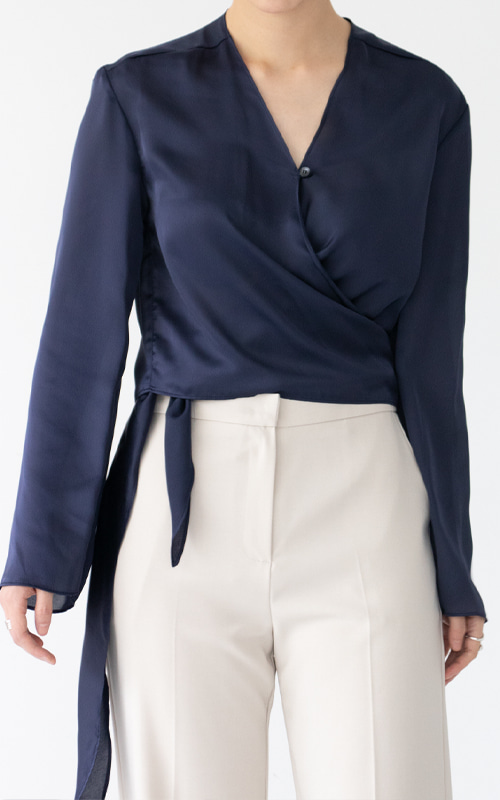 Silky Wrap Blouse_Navy