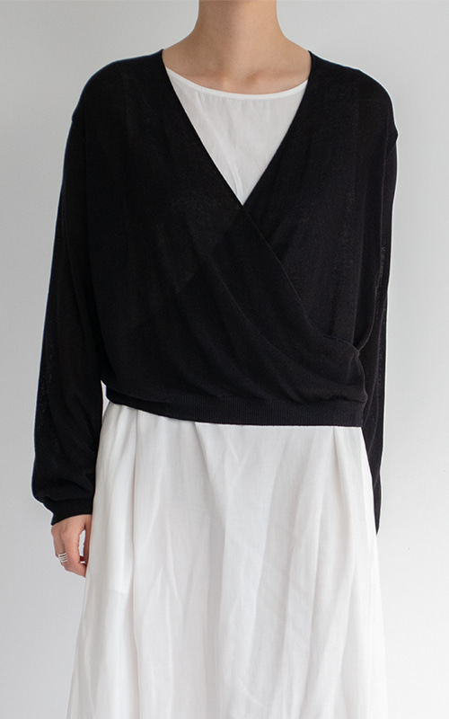 [SEASON OFF 10%] Wrap Knit Cardigan_Black(당일 발송)