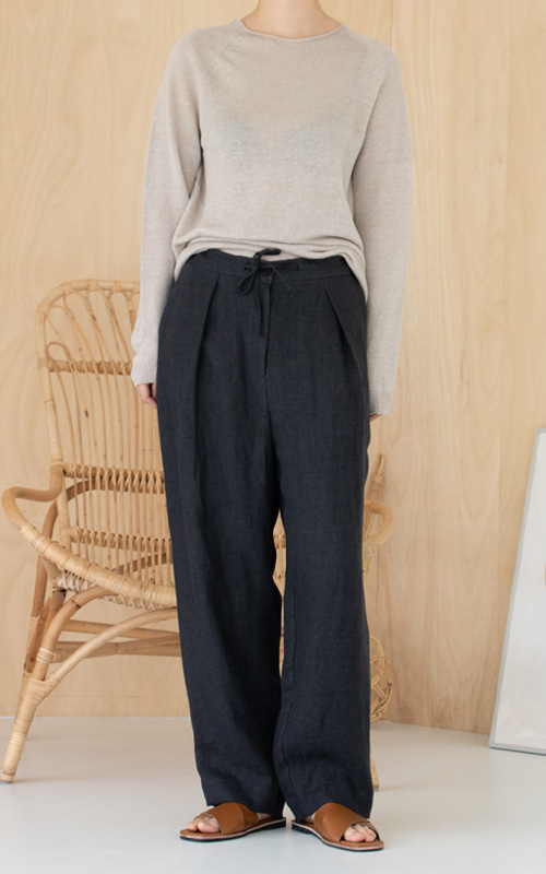 [LINEN 100%] Linen Herringbone String Pants_Charcoal
