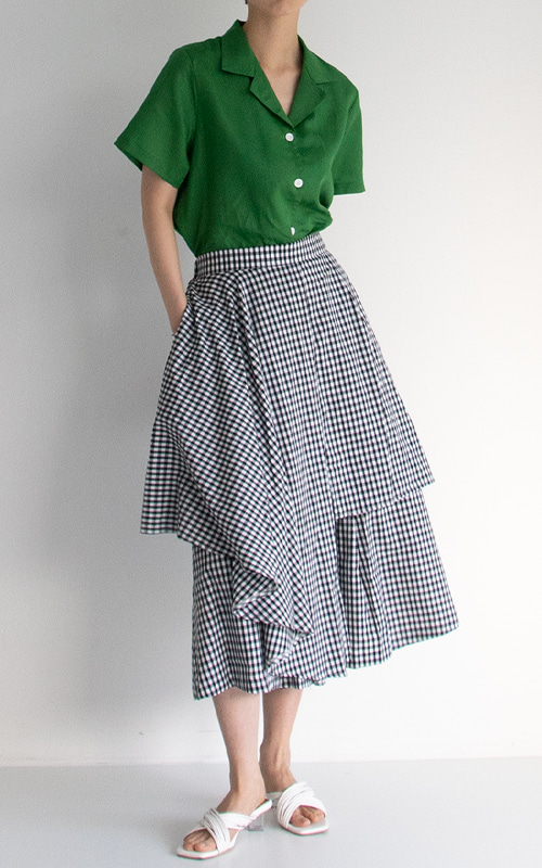 Cotton Flare Skirt Pants_Gingham Check