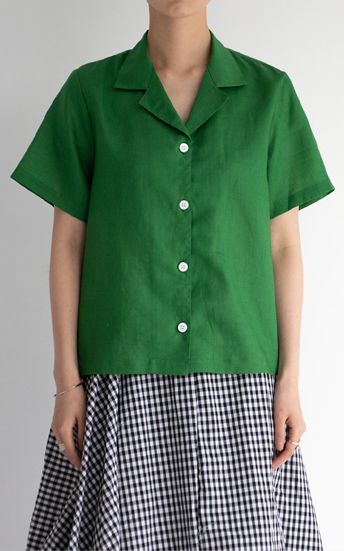 [LINEN 100] Open Collar Half Sleeve Shirts_Green