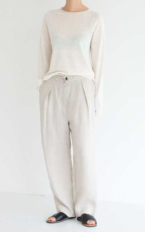 [LINEN 100%] Linen Herringbone String Pants_Natural(당일 발송)