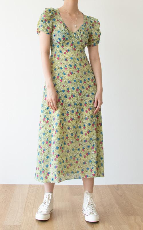 Puff Sleeve Flower Dress_Green