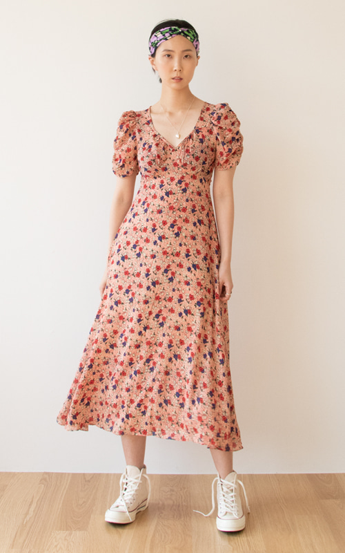 Puff Sleeve Flower Dress_Red