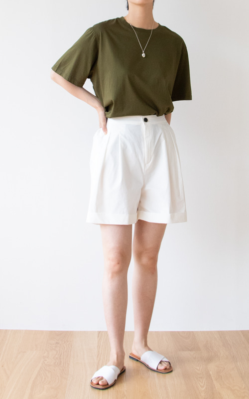 Short Turn-up Band Pants_3 Colors