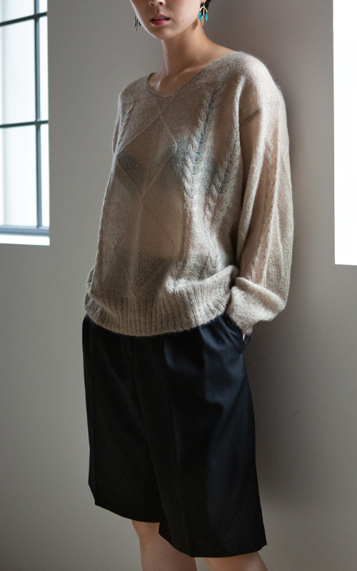 Kid Mohair V-Neck Knit_Beige