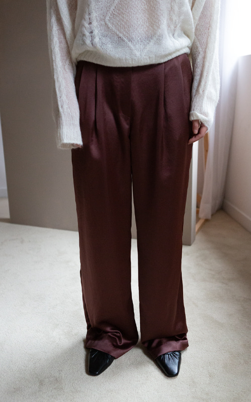 Metalic Two-Tuck Wide Trousers_Brown