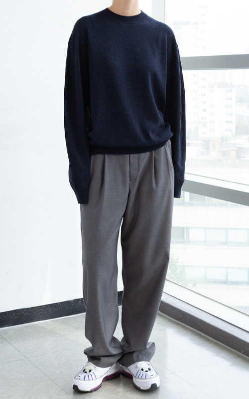 Two-Tuck Belt Trousers_Grey(2 Colors)