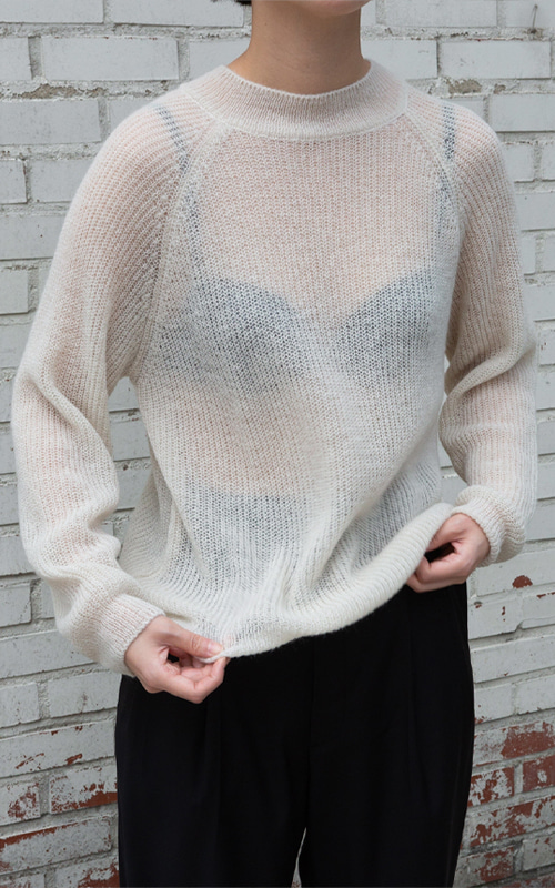 [Special Sale] Kid Mohair Round Knit_Ivory(3 Colors)