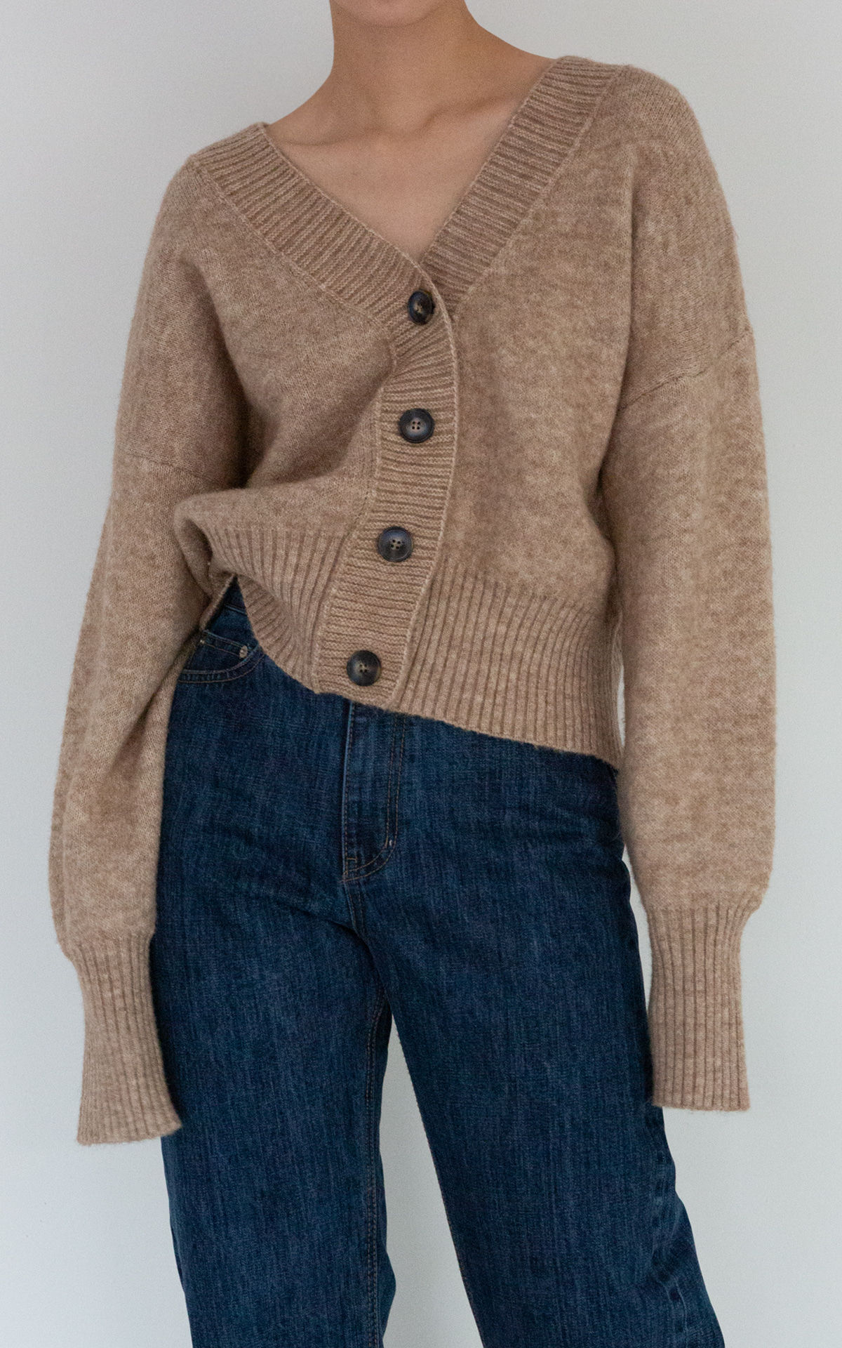 Two-Way V-Neck Knit Cardigan_Oatmeal