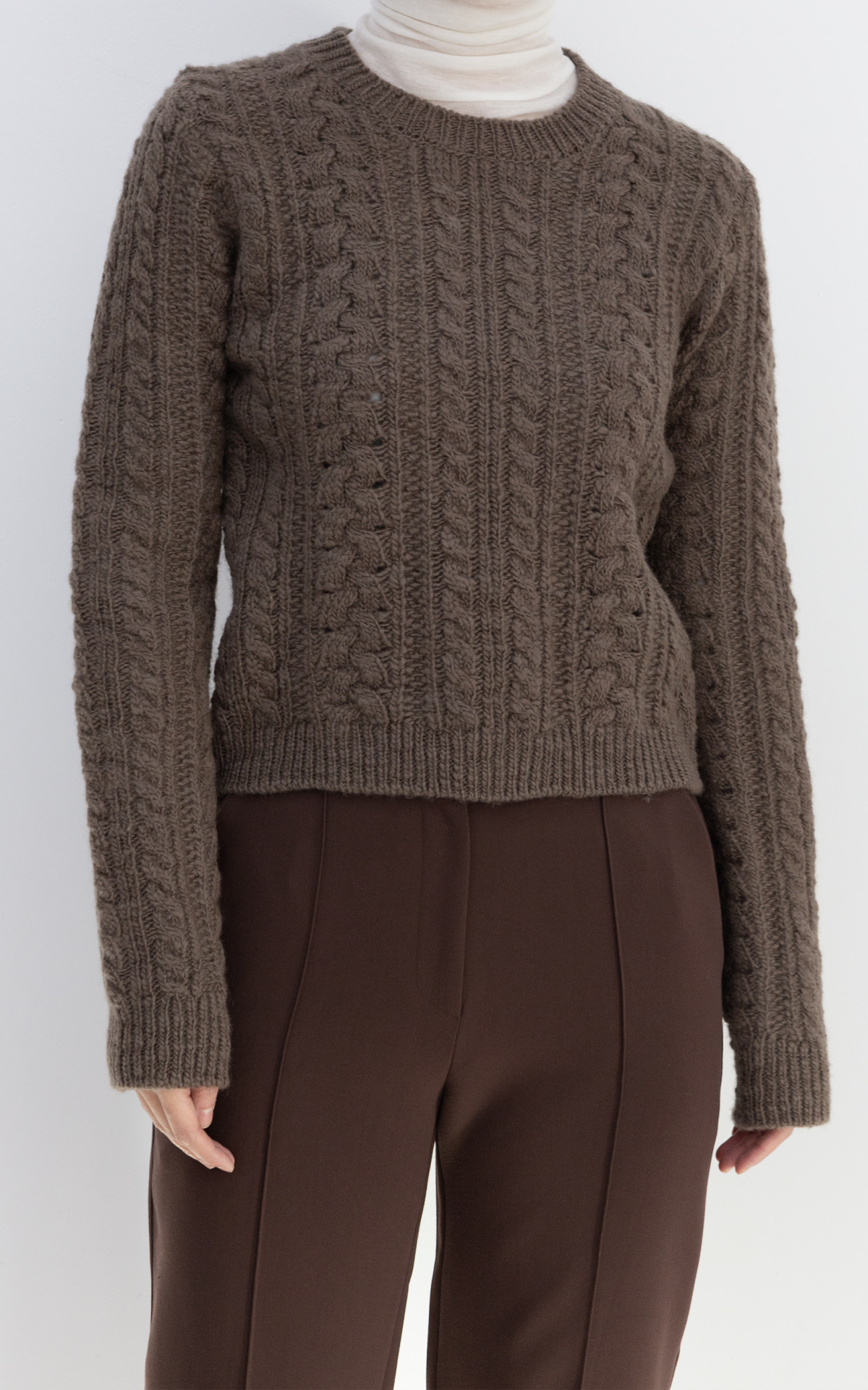 Crop Cable Knit_Brown